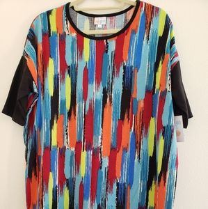 Lularoe Small Rainbow Neon Stripes Irma Top